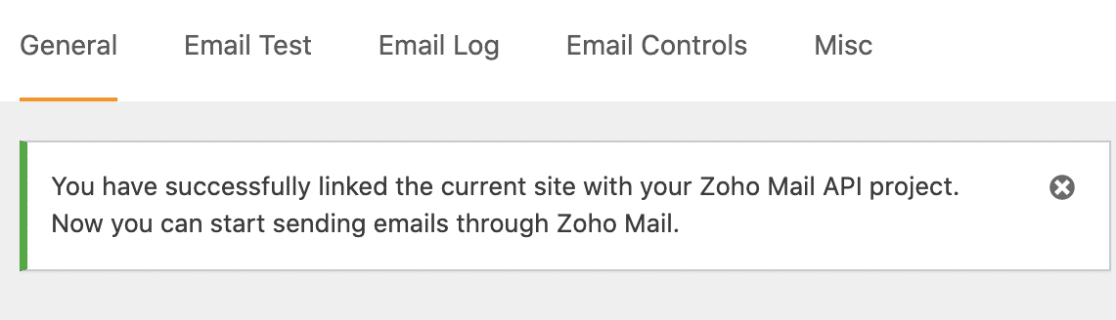 Successful Connection with Zoho