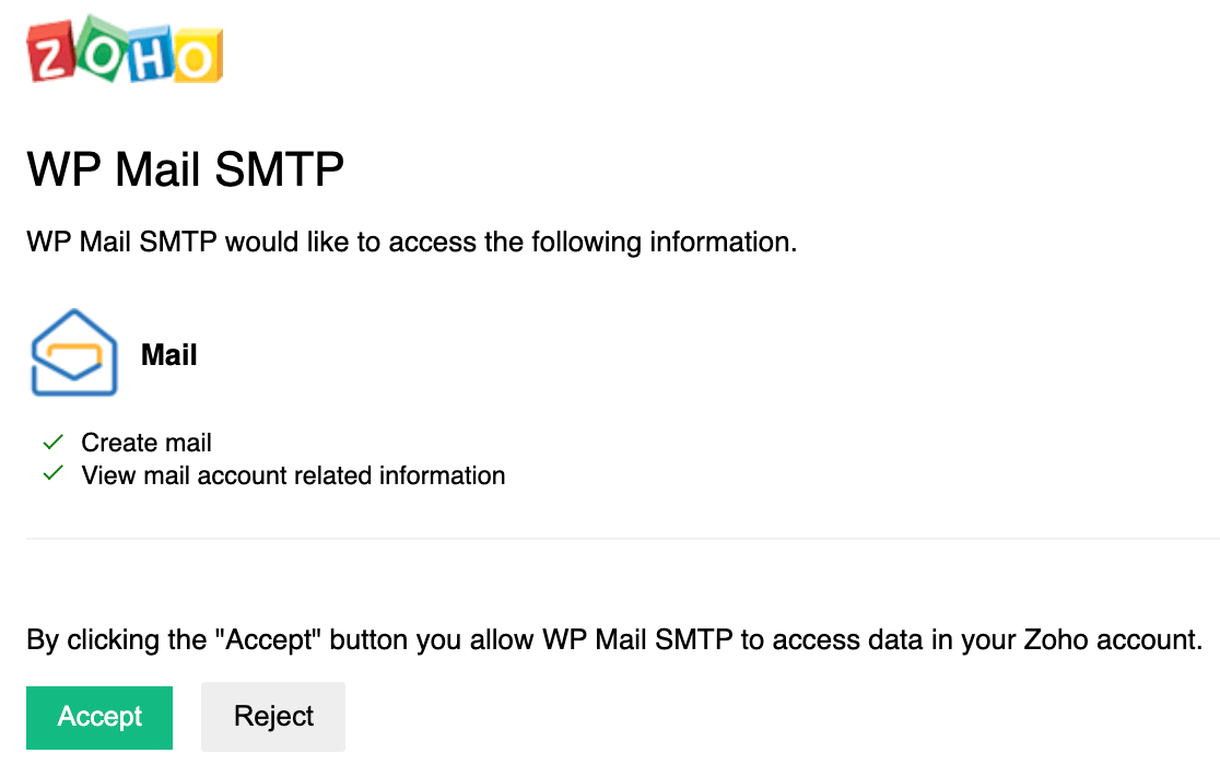 Accepting the WP Mail SMTP connection in Zoho