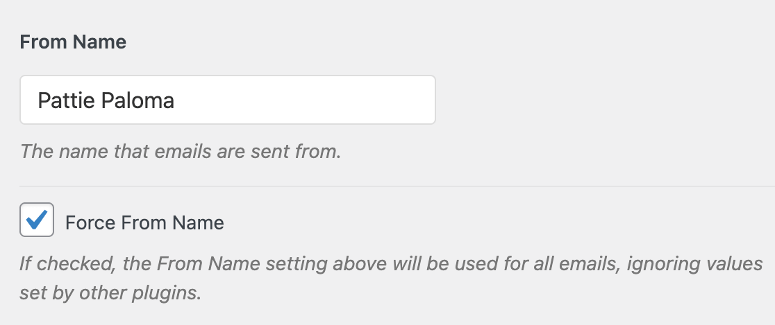 Entering a From Name in the WP Mail SMTP settings