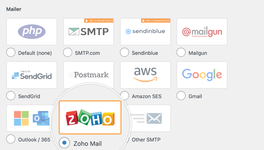 Selecting the Zoho mailer from the WP Mail SMTP settings