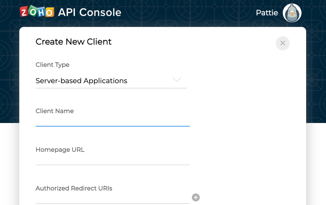 Entering application details in Zoho's API console
