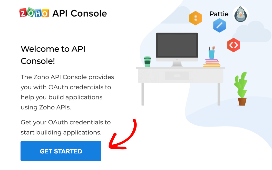 The Zoho API console Get Started button