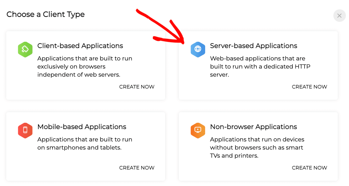 Selecting Server-Based Applications as the client type in the Zoho API console