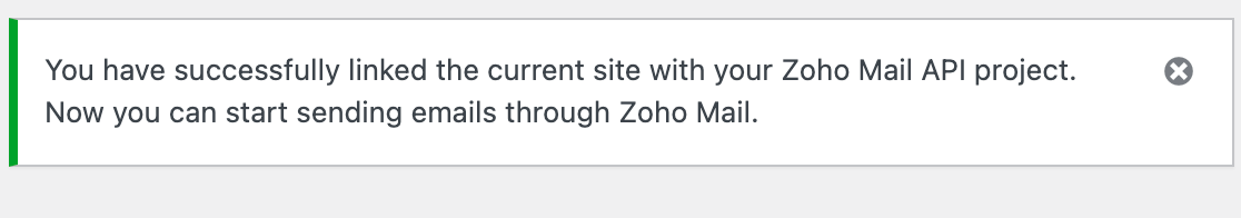 The Zoho connection confirmation message in WP Mail SMTP