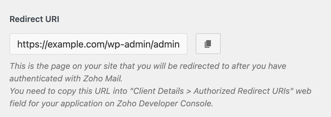The Zoho mailer redirect URI
