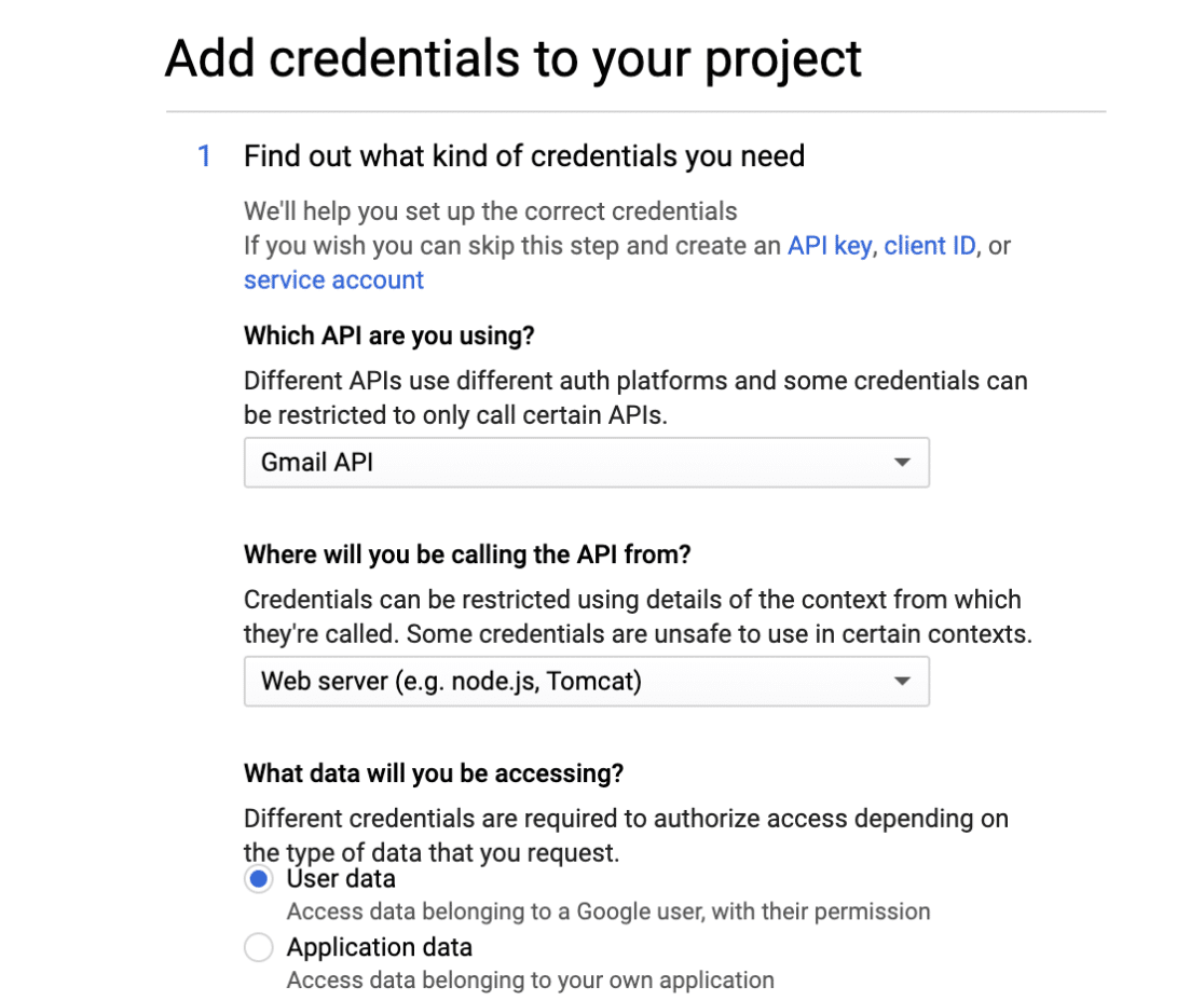 Add credentials to Gmail app