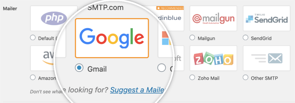 Select Gmail mailer in WP Mail SMTP