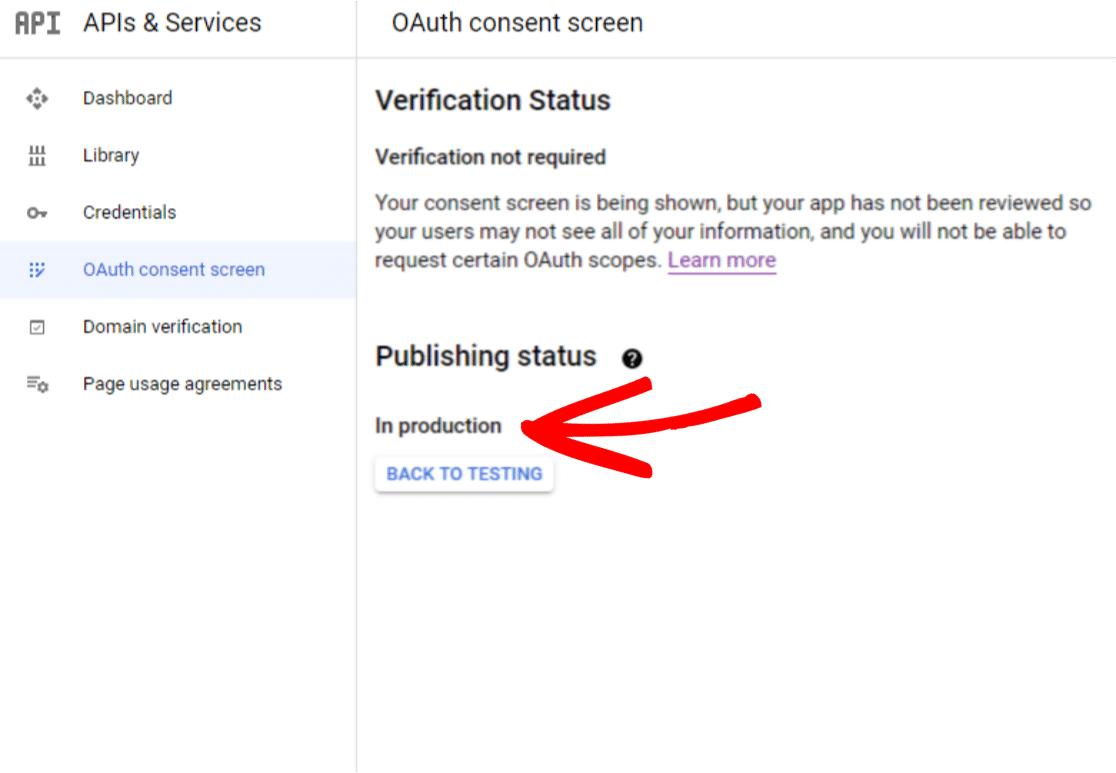 Publishing Status in Google App