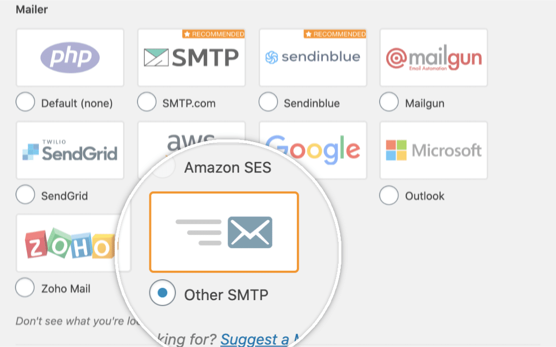 Select the Other SMTP mailer in WP Mail SMTP