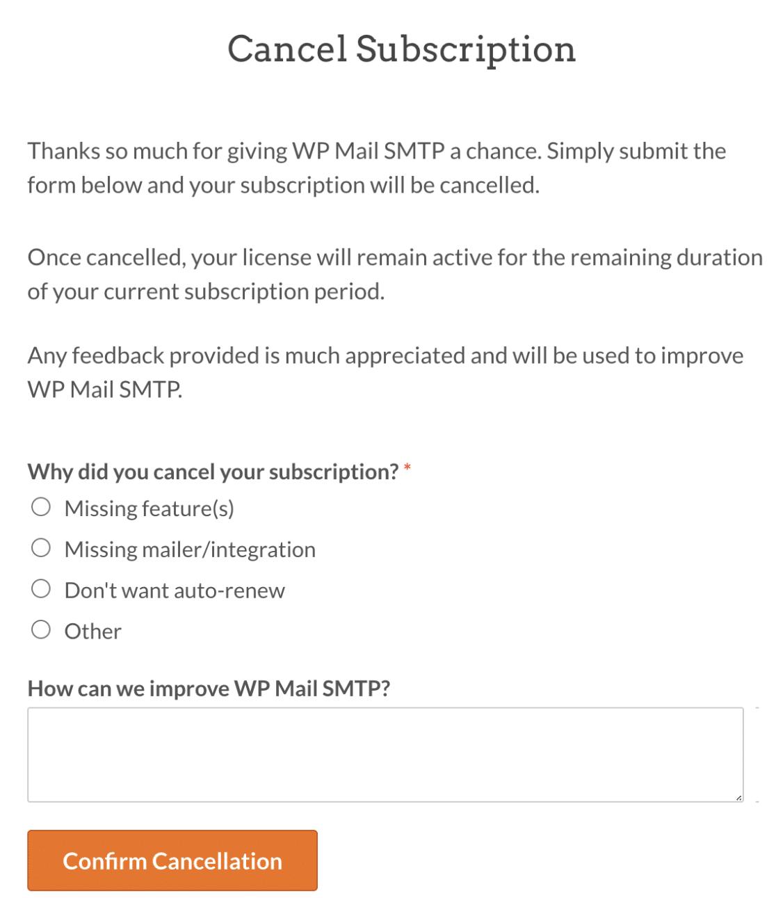 Cancellation survey