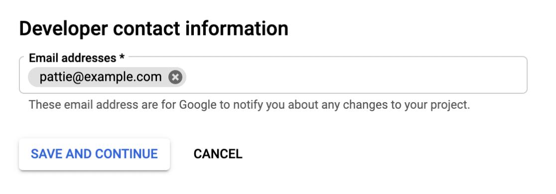 Developer Contact Information