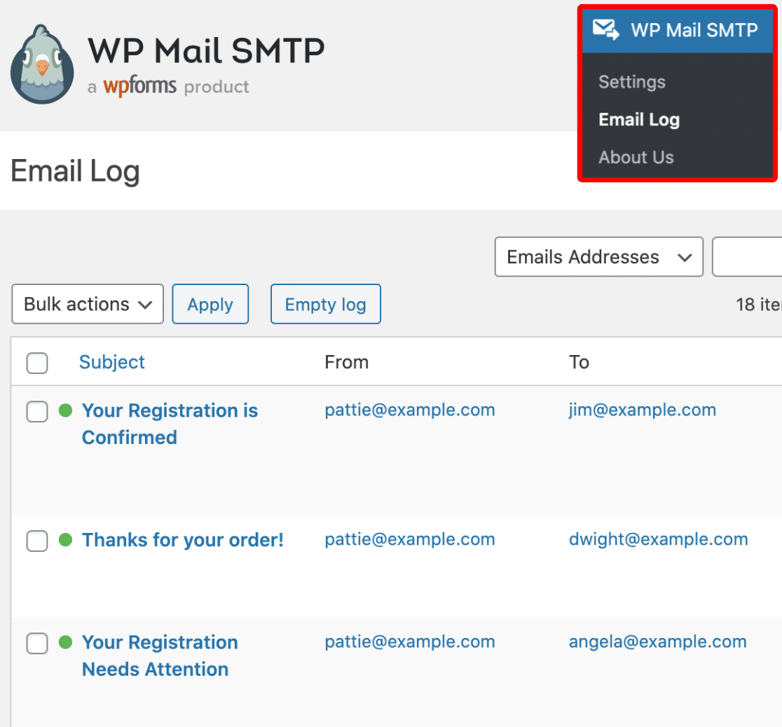 Email log in WP Mail SMTP