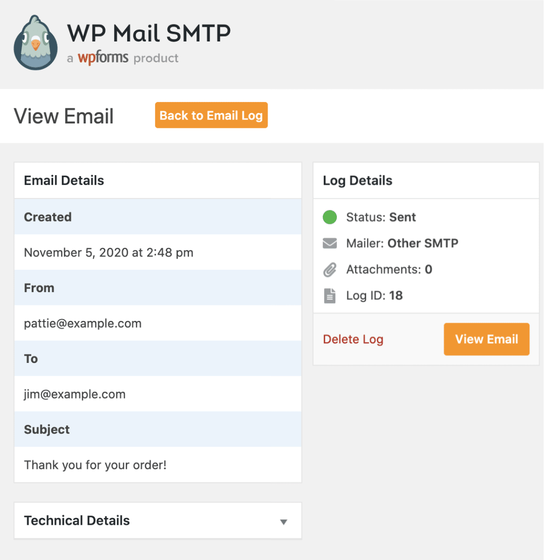Individual email log page in WP Mail SMTP