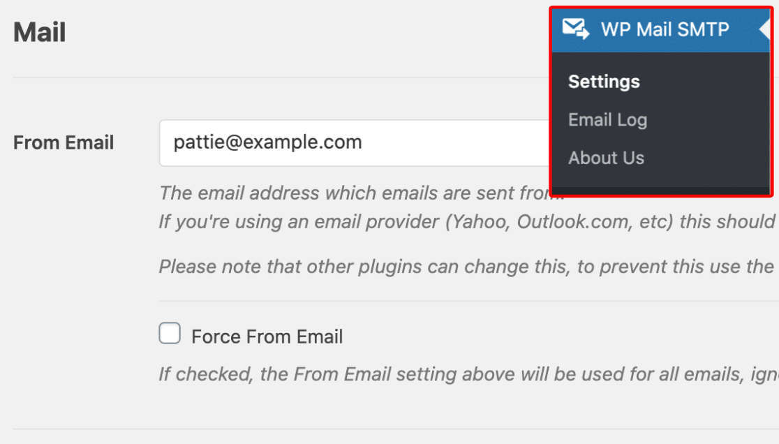 Adjust From Email in WP Mail SMTP settings