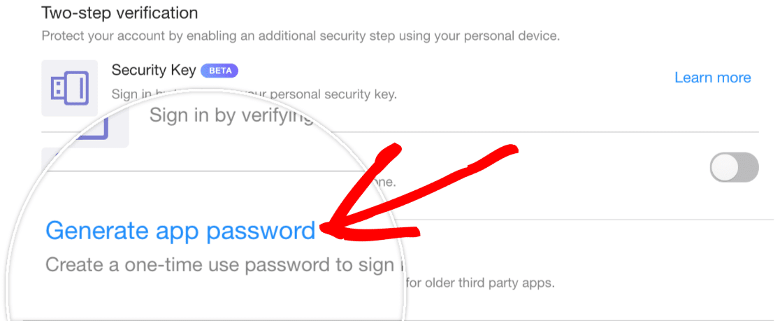 Generate App Password in Yahoo