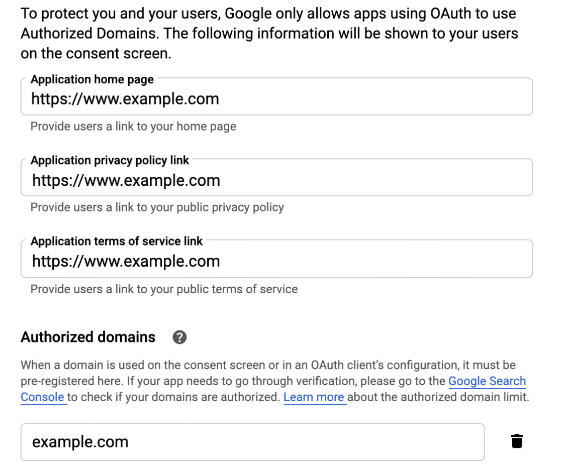 Add authorized domain information to Google consent