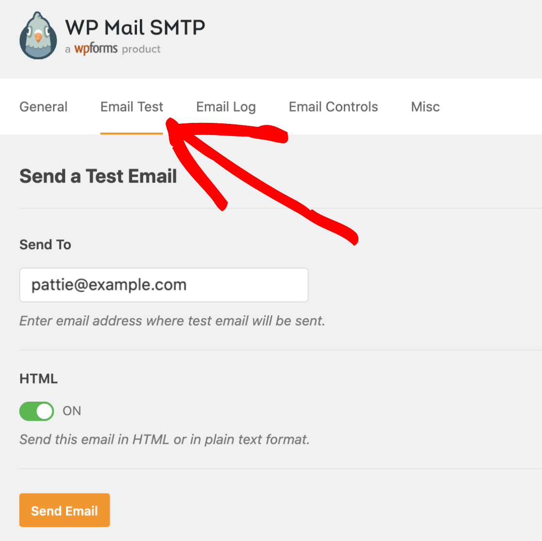 Open the Email Test tab in WP Mail SMTP