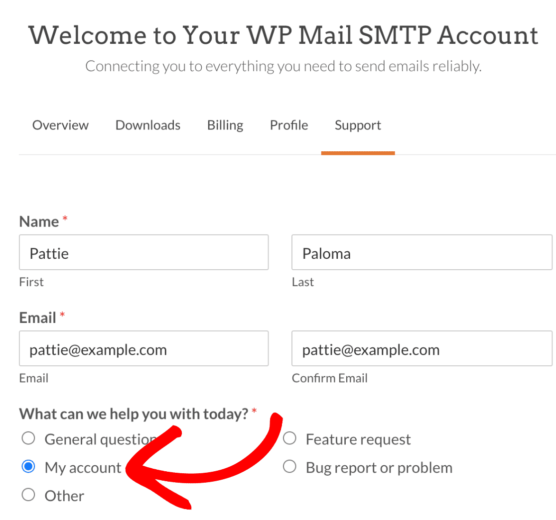 WP Mail SMTP support form to request refund