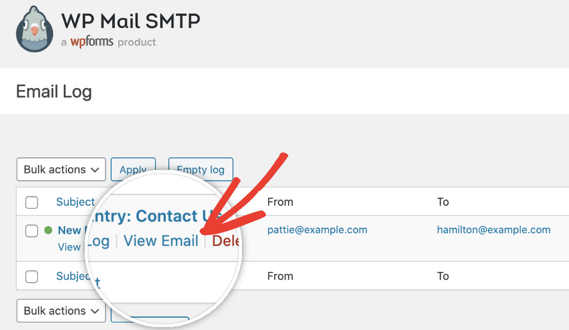View Email in Email Log