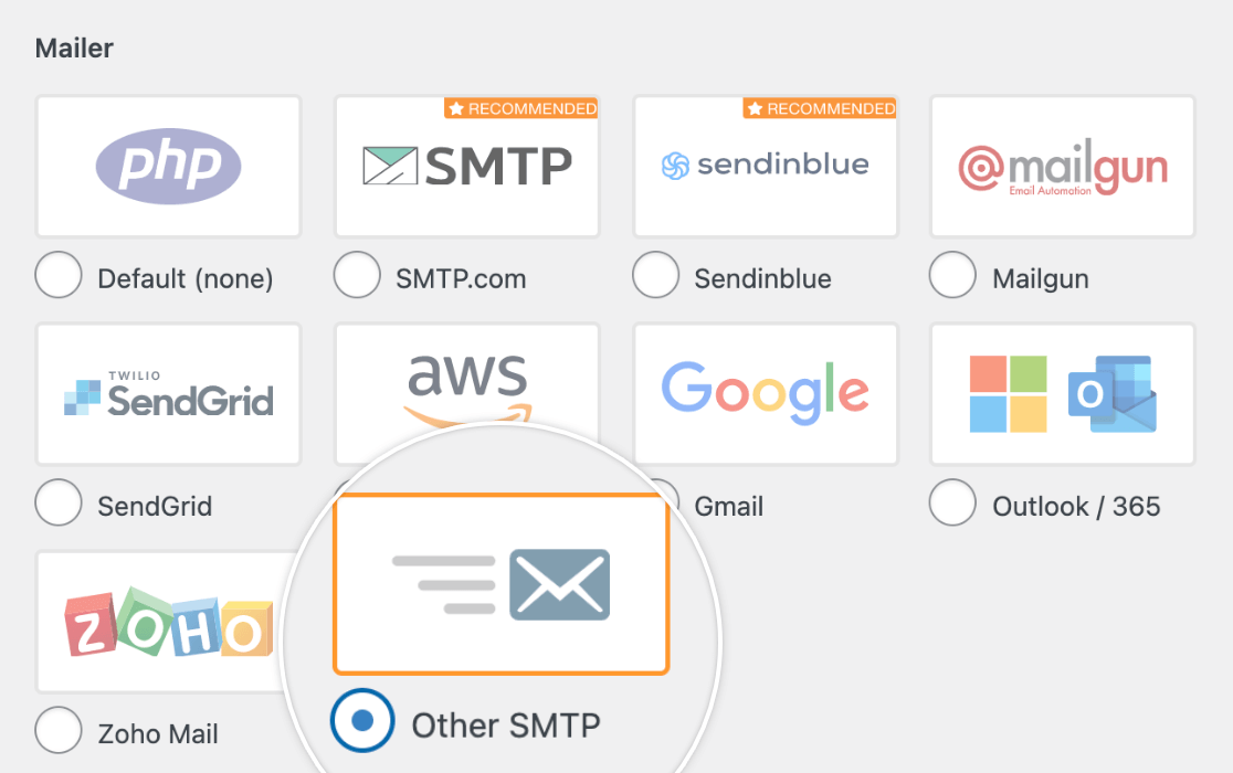 Selecting the Other SMTP Mailer in the WP Mail SMTP settings