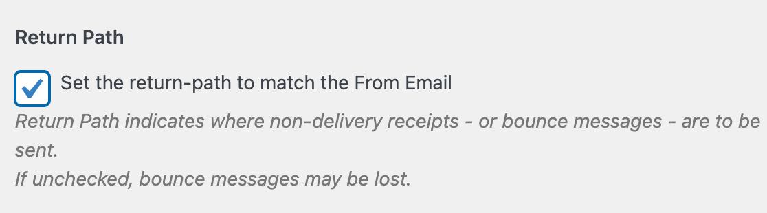 The WP Mail SMTP Return Path setting