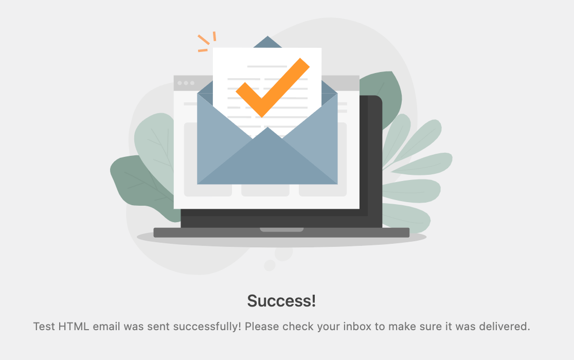 The Email Test success message