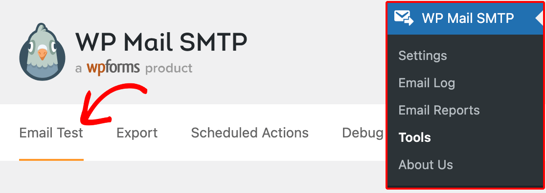Accessing the WP Mail SMTP Email Test tool