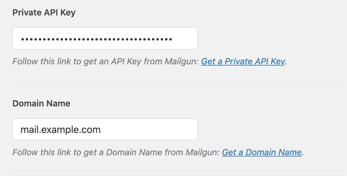 Enter Mailgun settings in WP Mail SMTP