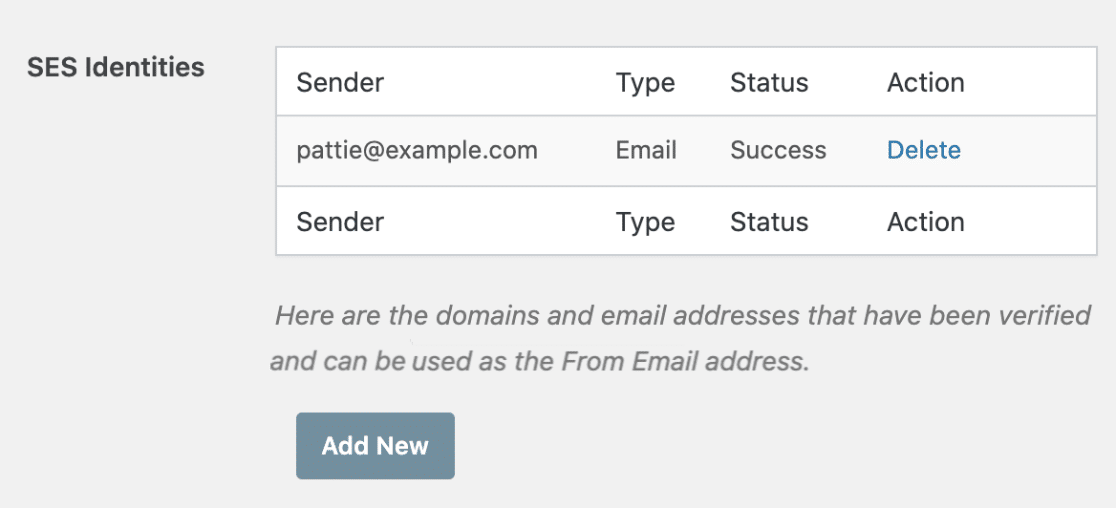 SES identities in WP Mail SMTP