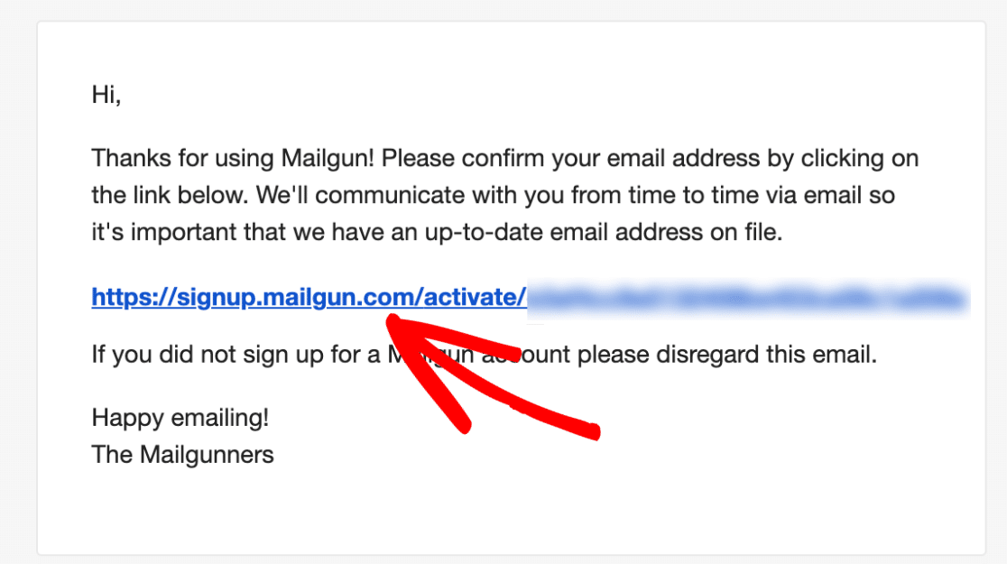 Mailgun account activation email