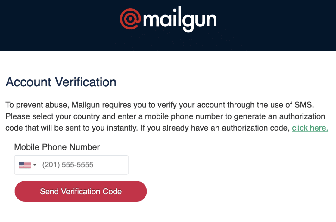 Send mobile verification code for Mailgun account
