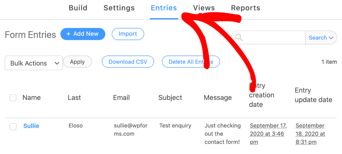 Formidable Forms contact form settings