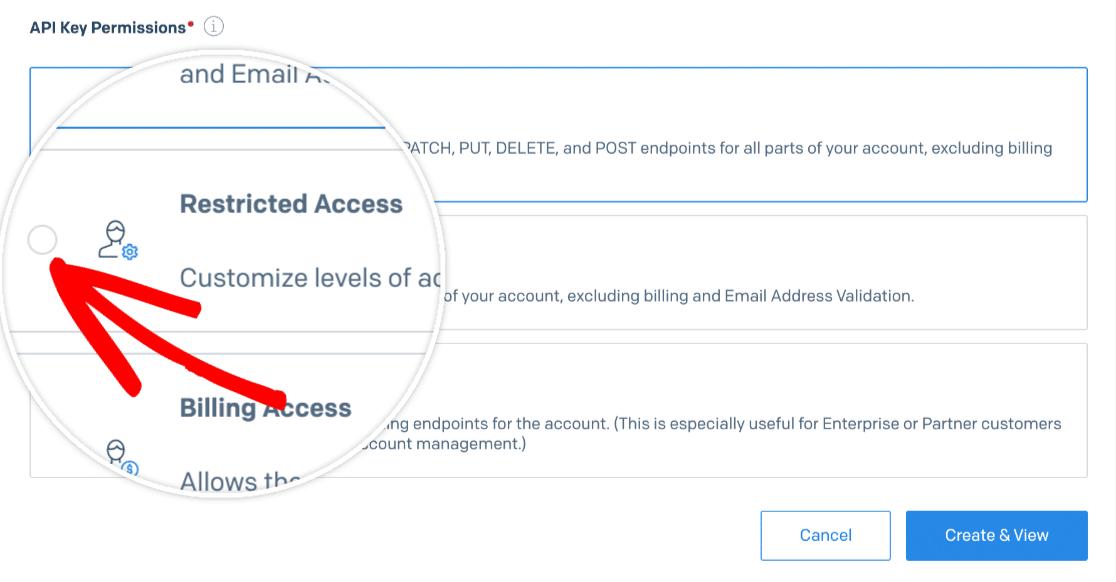 Enabling restricted access for a SendGrid API key