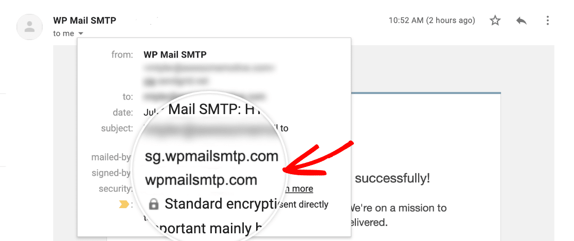 Checking that your domain has been authenticated in SendGrid by looking at the test email sender details in Gmail