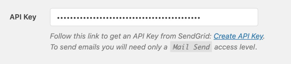 Adding an API key for SendGrid to the WP Mail SMTP settings