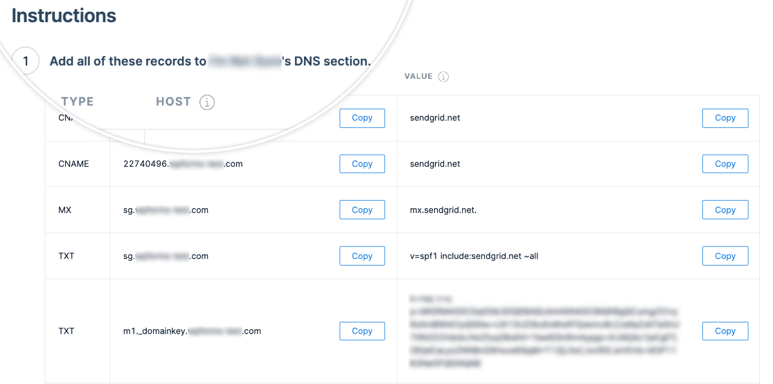 DNS records to add to your domain's settings to authenticate it in SendGrid