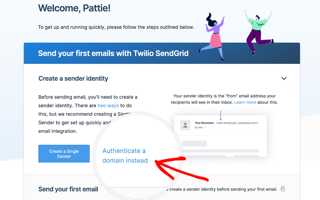 Authenticating a domain in SendGrid