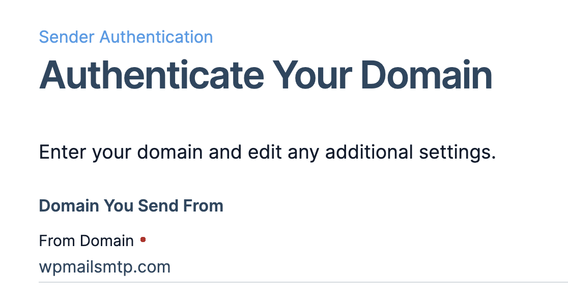 Entering the domain to authenticate in SendGrid