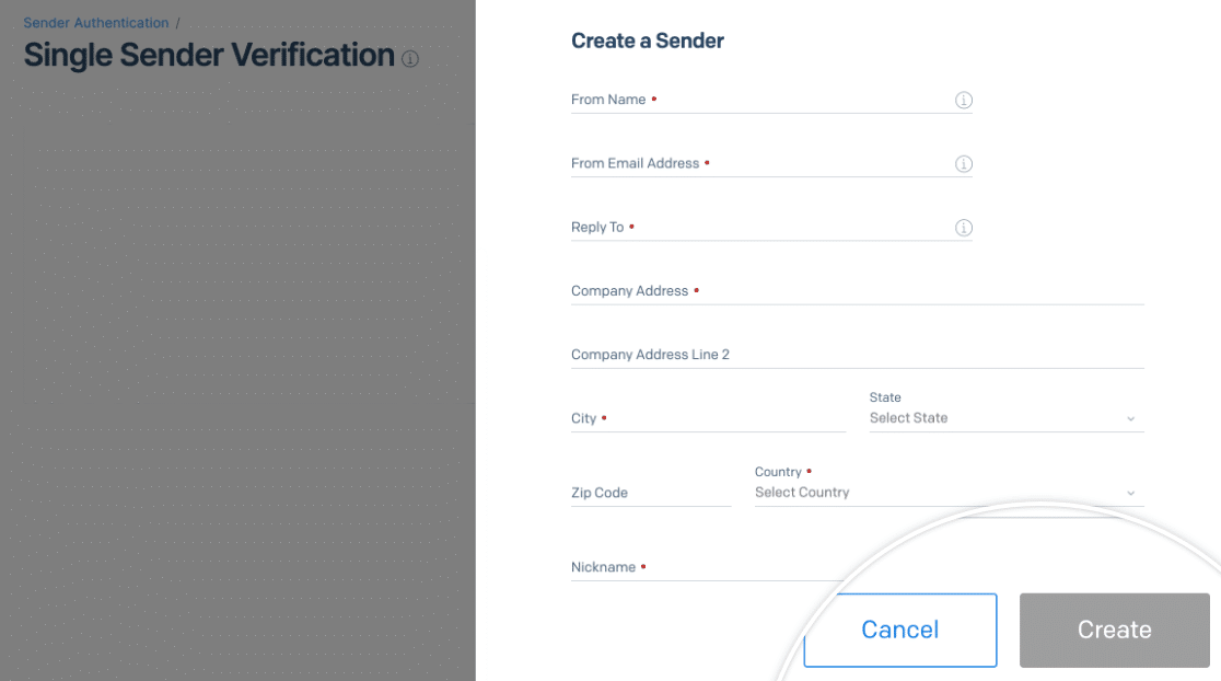 Creating a Single Sender in SendGrid