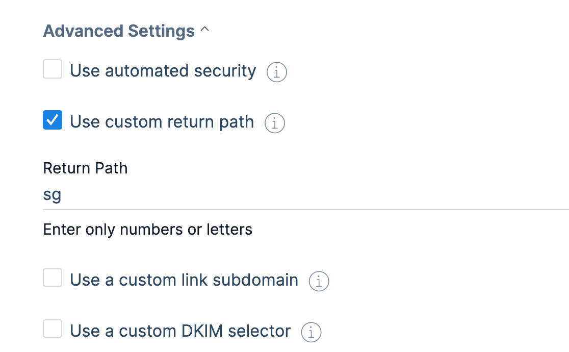 SendGrid's domain authentication advanced settings