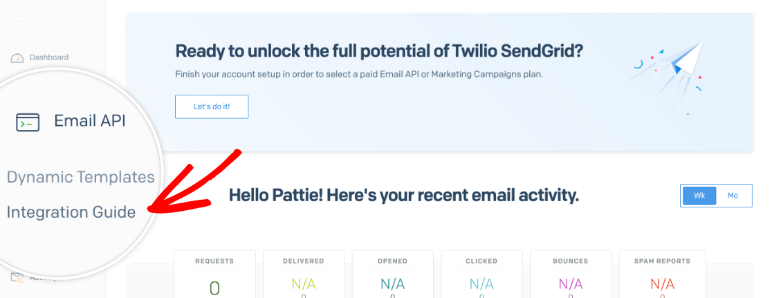Accessing the email API integration options for SendGrid