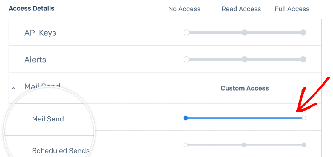 Checking that mail send permissions are set to full access in SendGrid