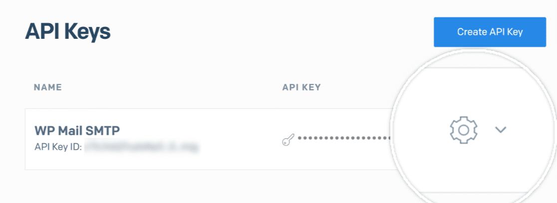 Opening the SendGrid API key settings