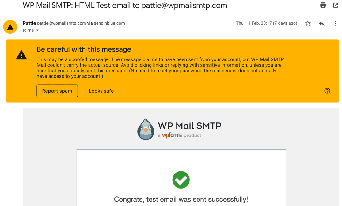 Be careful with this message email example