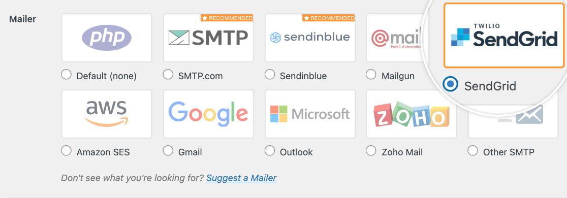 Selecting the SendGrid mailer