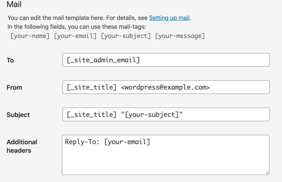 Contact Form 7 email defaults