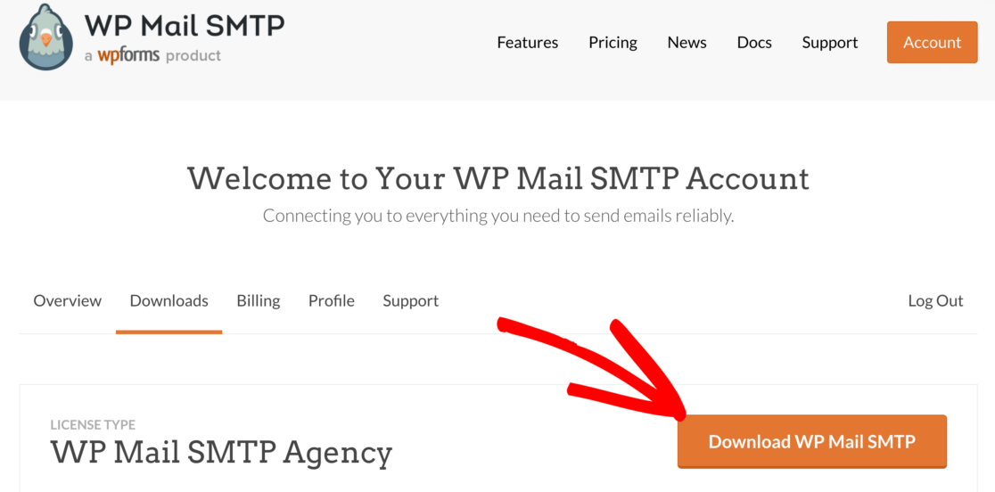 Download WP Mail SMTP to fix WPForms contact form not sending email