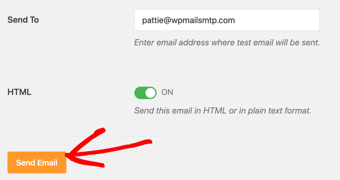 Send test email from WP Mail SMTP