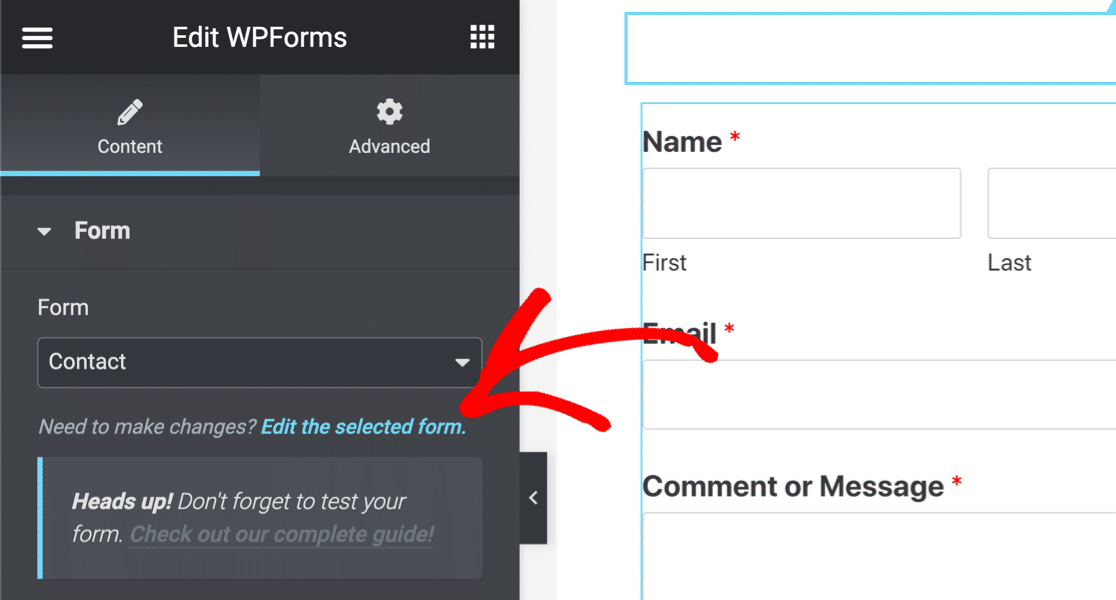 WPForms - Edit the selected form in Elementor