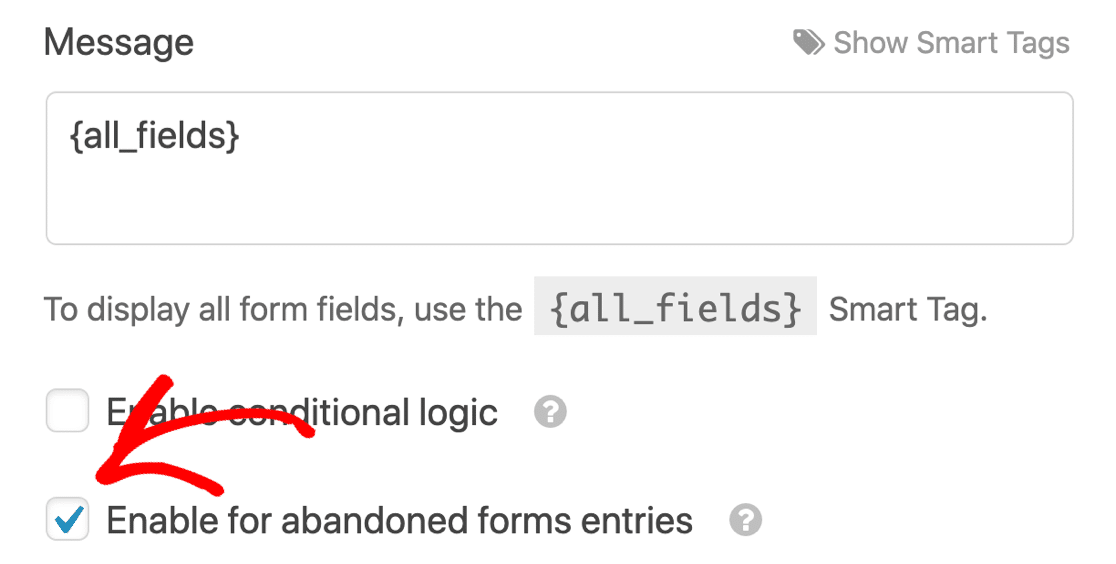Enable form abandonment email in WPForms